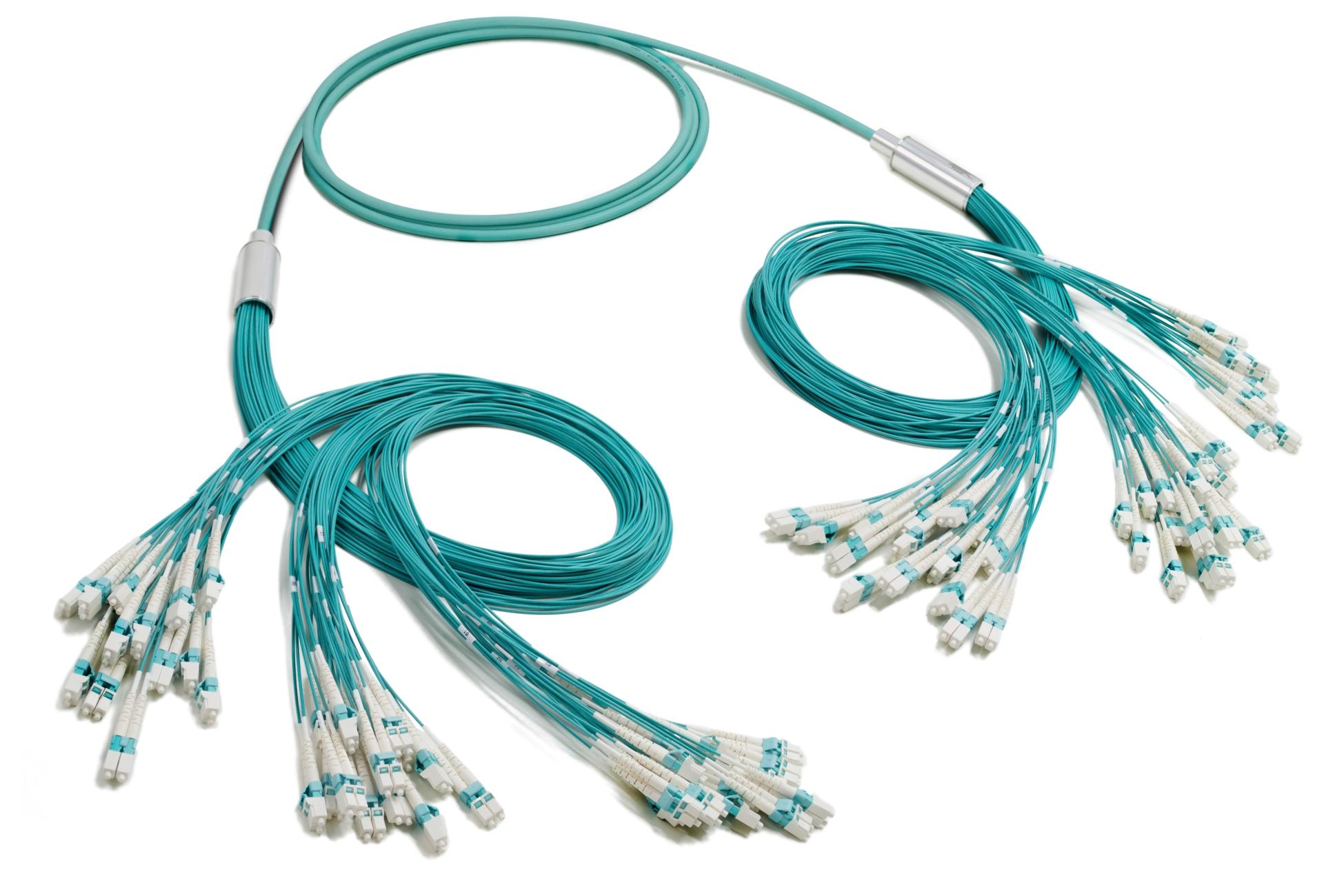 LC-LC 96-fiber Duralino trunk, free tails simplex tubing